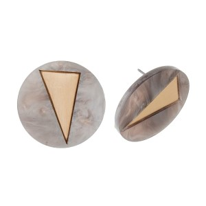 """Acetate circle stud earrings with a gold tone triangle. Approximately 3/4"""" in diameter."""