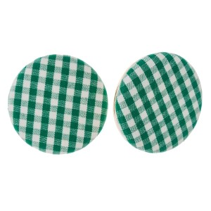 "Circle shaped, gingham fabric stud earrings. Approximately 1.25"" in diameter."