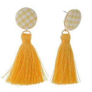 "Circle shaped, gingham fabric stud earrings with a thread tassel. Approximately 3"" in length."