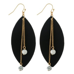 "Gold tone fishhook earrings with a faux leather oval shape and beaded accents. Approximately 3"" in length."