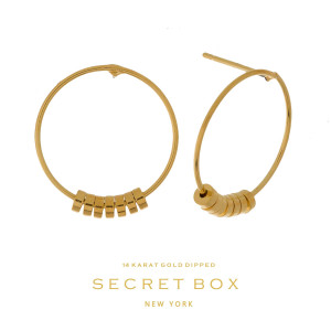 """Secret Box 14 karat gold dipped over brass circle stud earrings. Approximately 3/4"""" in diameter. Sold in a gift box."""