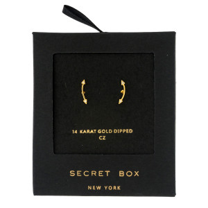 """Secret Box 14 karat gold dipped over brass arrow stud earrings. Approximately 1/2"""" in length. Sold in a gift box."""