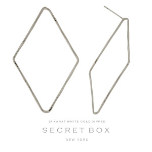 """Secret Box 24 karat white gold dipped over brass diamond shaped stud earrings. Approximately 2"""" in length. Sold in a gift box."""