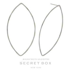 """Secret Box 24 karat white gold dipped over brass oval shaped stud earrings. Approximately 2"""" in length. Sold in a gift box."""