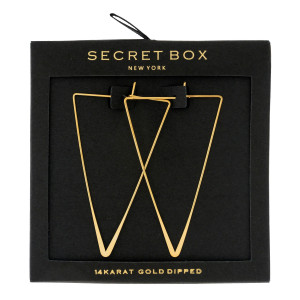 """Secret Box 14 karat gold dipped over brass triangle shaped hoop earrings. Approximately 2"""" in length. Sold in a gift box."""