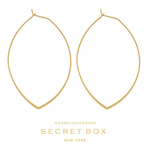 """Secret Box 14 karat gold dipped over brass, dainty, oval shaped hoop earrings. Approximately 2.5"""" in length. Sold in a gift box."""