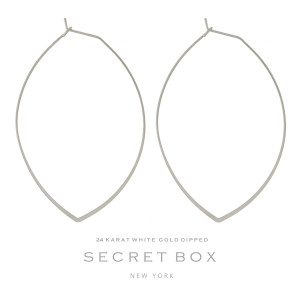 """Secret Box 24 karat white gold dipped over brass, dainty, oval shaped hoop earrings. Approximately 2.5"""" in length. Sold in a gift box."""