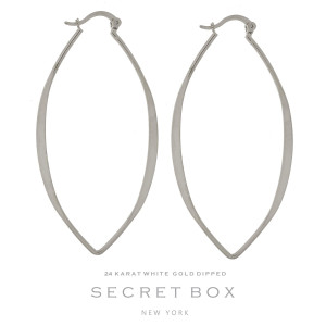 """Secret Box 24 karat white gold dipped over brass oval shaped hoop earrings. Approximately 2.5"""" in length. Sold in a gift box."""