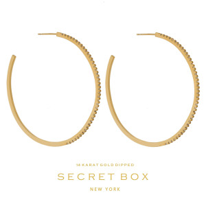 """Secret Box 14 karat gold dipped over brass circle shaped hoop earrings. Approximately 2.5"""" in diameter. Sold in a gift box."""