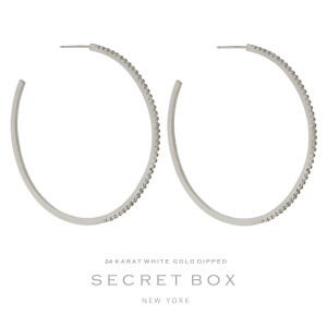 """Secret Box 24 karat white gold dipped over brass circle shaped hoop earrings. Approximately 2.5"""" in diameter. Sold in a gift box."""
