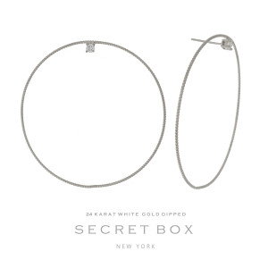"""Secret Box 24 karat white gold dipped over brass circle shaped stud earrings with a rhinestone accent. Approximately 2"""" in length. Sold in a gift box."""