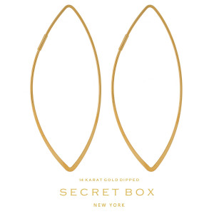 """Secret Box 14 karat gold dipped over brass oval shaped hoop earrings. Approximately 2.5"""" in length. Sold in a gift box."""