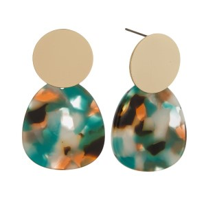 """Acetate post earring with gold accent. Approximately 2"""" in length."""