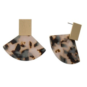 """Gold tone, post earrings with fan, shaped acetate detail. Approximately 2"""" in length."""