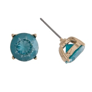 """Dainty, circle shaped, CZ stud earrings. Approximately 1/3"""" in diameter."""