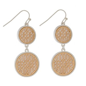 """Fishhook earrings with two filigree, circle shapes and a mother of pearl backing. Approximately 2"""" in length."""