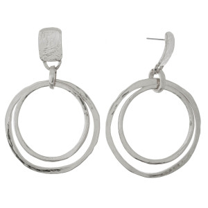 """Metal post earring with circle shape. Approximately 2.5"""" in length."""