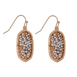"""Dainty, fishhook earrings with a crushed rhinestone, oval shape. Approximately 1"""" in length."""