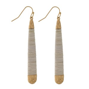 """Fishhook earrings with a teardrop shape and two tone, wire wrapping detail. Approximately 2.5"""" in length."""