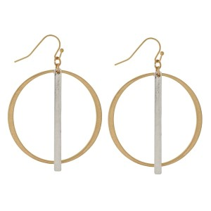 "Burnished metal, fishhook earrings with a two tone bar and circle shape. Approximately 2.25"" in length."
