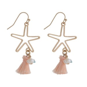 "Dainty fishhook earrings with a cutout starfish and a tassel accent. Approximately 2"" in length."