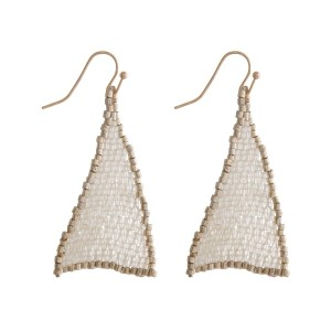 """Fishhook earrings with a two tone, beaded triangle shape. Approximately 2"""" in length."""