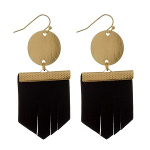 """Gold tone, metal fishhook earring with leather geometric shape. Approximately 2"""" in length."""