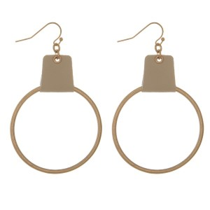 Gold tone, fishhook hoop earring with leather accent.