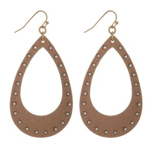 """Fishhook earring with leather teardrop shape accented with rhinestones. Approximately 2.5"""" in length."""