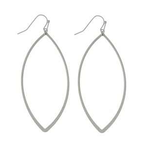 "Metal, fishhook earrings with teardrop shape. Approximately 2.5"" in length"