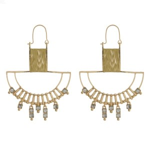 """Metal earring with rhinestone accent. Approximately 2"""" in length."""