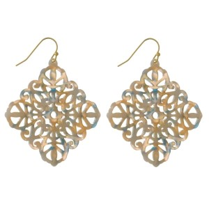"""Gold tone fishhook filigree acetate earring. Approximately 1.5"""" in length."""