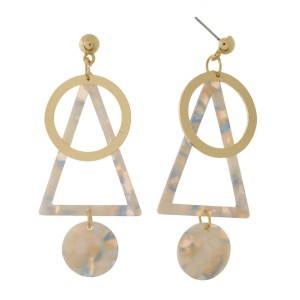 """Long post earring with acetate design and metal accent. Approximately 3"""" in length."""