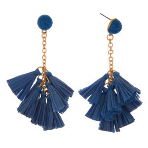 """Gold tone, post earring with raffia tassels. Approximately 3"""" in length."""