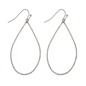 "Fishhook earring with hammered metal teardrop shape. Approximately 2"" in length."