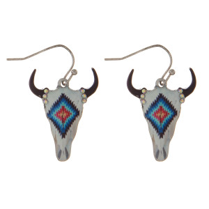 "Silver tone, fishhook earring with steer head pendant. Approximately 1.5"" in length."