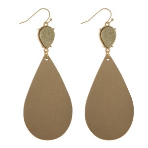 """Fishhook earrings with a faux druzy stone and a faux leather oval shape. Approximately 3"""" in length."""