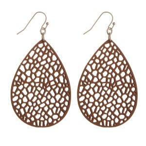 """Silver tone fishhook earring with leather teardrop shape. Approximately 2"""" in length."""