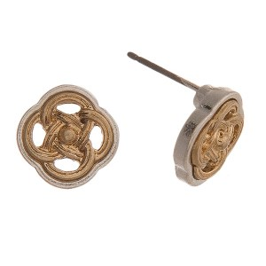 Two tone stud earring with filigree clover shape. Approximately 10mm.