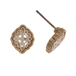 Two tone stud earring with filigree moroccan shape. Approximately 10mm.