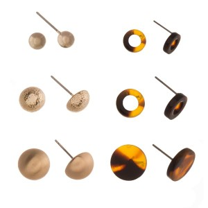 Six earring set with gold tone and acetate stud earrings.