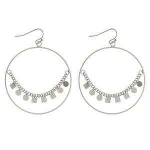 "Metal hoop earring with geometric shape design. Approximately 2"" in diameter."