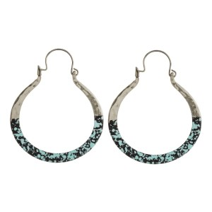 """Metal hoop earring with splatter paint accent. Approximately 2"""" in length."""