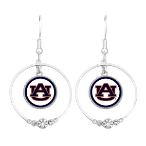 Auburn University polished silver tone hoop earrings. Officially Licensed Collegiate Product. (Approx. 1.75 in Diameter)