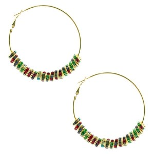 """2 1/2"""" Gold tone hoop style earrings accented by multicolored rhinestone rondelles."""