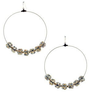 """Dual tone hoop earrings, approximately 2"""" diameter, with silver globe beads."""