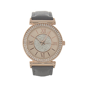 Gray faux leather watch with a rose gold tone face and clear rhinestone details.