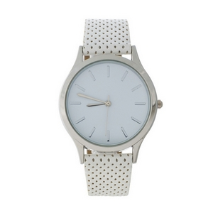 White faux leather watch with a perforated band and a white face.