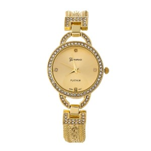 Gold tone, snake chain watch with clear rhinestones around the face.