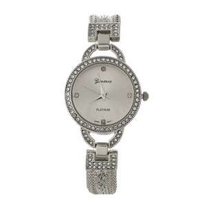 Silver tone, snake chain watch with clear rhinestones around the face.